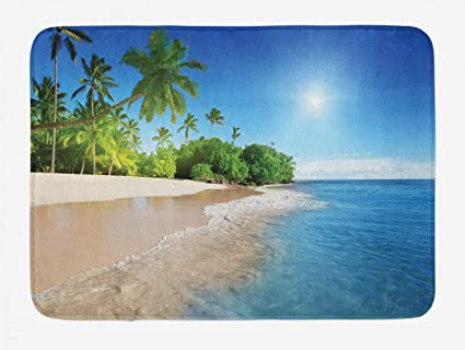 Amazoncom Ambesonne Blue Bath Mat Ocean Tropical Palm Trees On