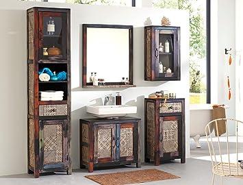 Badezimmer Punjab 2 Akazie Metall 5 Teilig Hochschrank Unterschrank  Hängeschrank Kommode Spiegel Used Look Vintage
