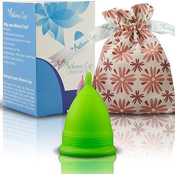 Athena Copa Menstrual – La copa menstrual más recomendada - Incluye una bolsa de regalo - Talla 2, Verde liso - ¡Ausencia de pérdidas garantizada!