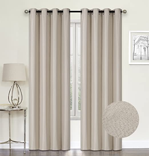Amazon Com Hcily Beige Linen Blackout Curtains Thermal Insulated Grommet Room Darkening Window Treatment 2 Panels For Bedroom Beige W52 X L84 Home Kitchen