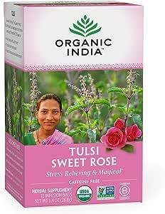 Organic India Tulsi Sweet Rose Herbal Tea - Stress Relieving & Magical, Immune Support, Adaptogen, Vegan, Gluten-Free, USDA Certified Organic, Non-GMO, Caffeine-Free - 18 Infusion Bags, 1 Pack