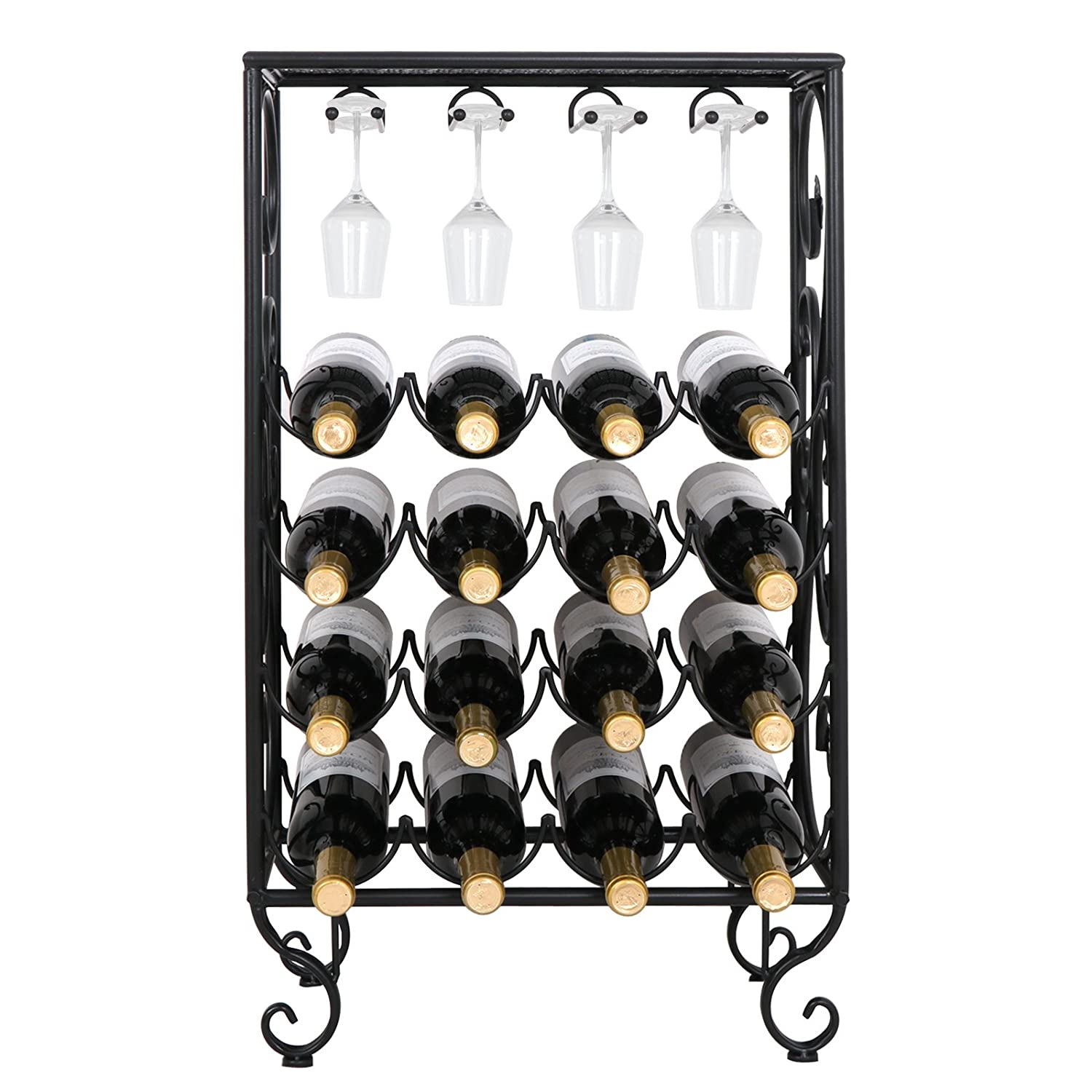 Smartxchoices 16 Bottle Wine Rack with Glass Holder, Table Top Free Standing Wine Bottle Holder Display Shelf Storage Rack Metal Small Black