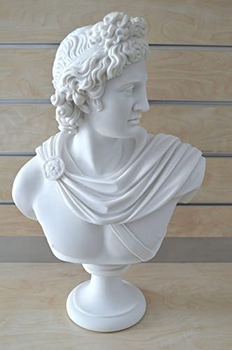 God Apollo Bust Sculpture Ancient Greek God of Sun and Poetry Grand Statue