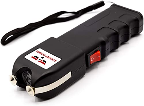 Avenger Defense ADS-10 Portable Stun Gun Extremely Powerful Rechargeable Stun Gun for Self Defense and Protection Built-In LED Flashlight and Carrying Case Intimidating and Comfortable Design