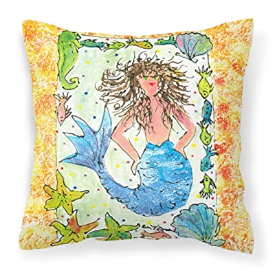 Caroline's Treasures 8082PW1414 Mermaid Decorative Canvas Fabric Pillow, 14Hx14W, Multicolor : Garden & Outdoor