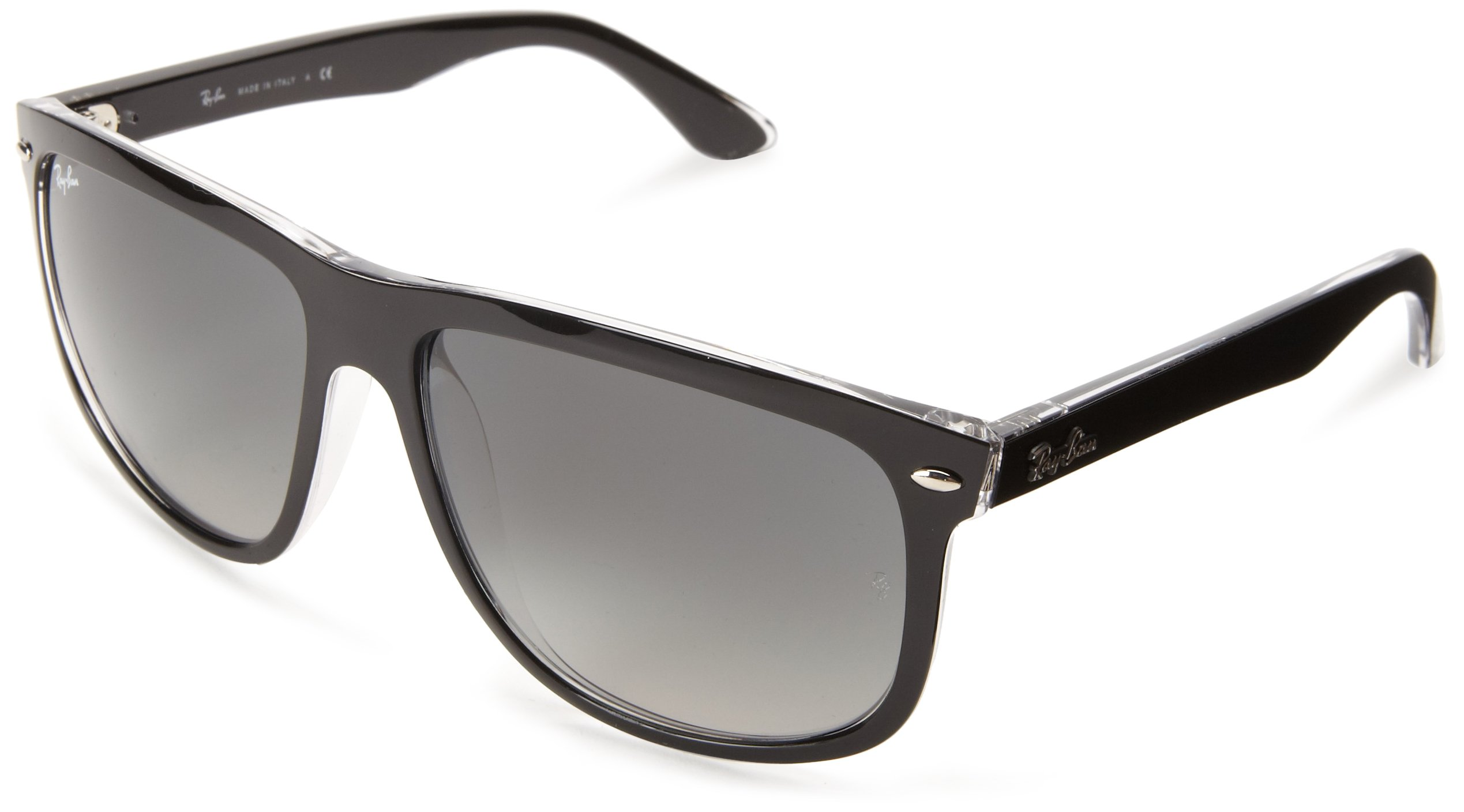 RAY-BAN RB4147 Boyfriend Square Sunglasses, Top Black On Transparent/Grey Gradient Azure, 60 mm by RAY-BAN