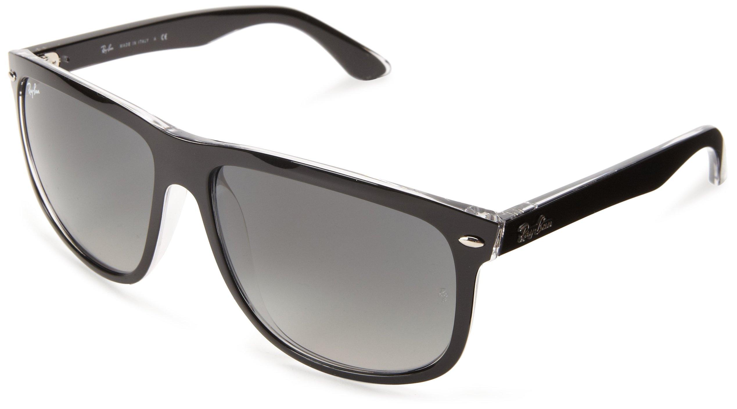 Ray-Ban RB4147 Boyfriend Square Sunglasses, Black On Transparent/Grey Gradient, 60 mm