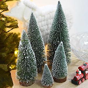 5 PCS Artificial Sisal Christmas Tree Mini Pine Tree with Wood Base DIY Crafts Home Table Top Decor Christmas Ornaments Green Holiday Christmas Decorations