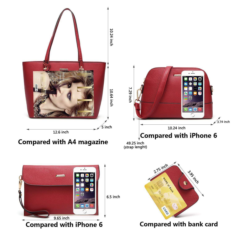 ELIMPAUL Women Fashion Handbags Tote Bag Shoulder Bag Top Handle Satchel Purse Set 4pcs by ELIMPAUL (Image #4)
