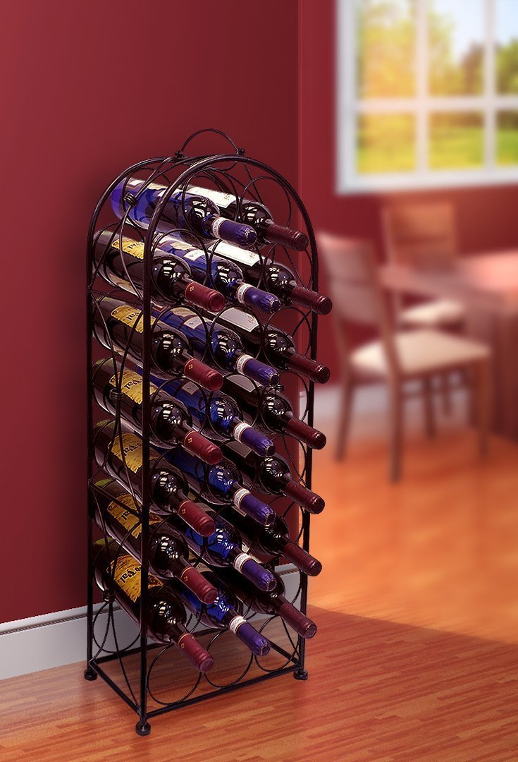 Sorbus Wine Rack Stand Bordeaux Chateau Style - Holds 23 Bottles of Your Favorite Wine - Elegant Looking French Style Wine Rack to Compliment Any Space - No Assembly Required (Black) by Sorbus (Image #2)