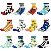 Non Skid Boys Socks 12 Pair Non Slip Sticky Grip Crew Socks for Toddler 1-7T Kid Boys Socks Size 3-9 Big Kids