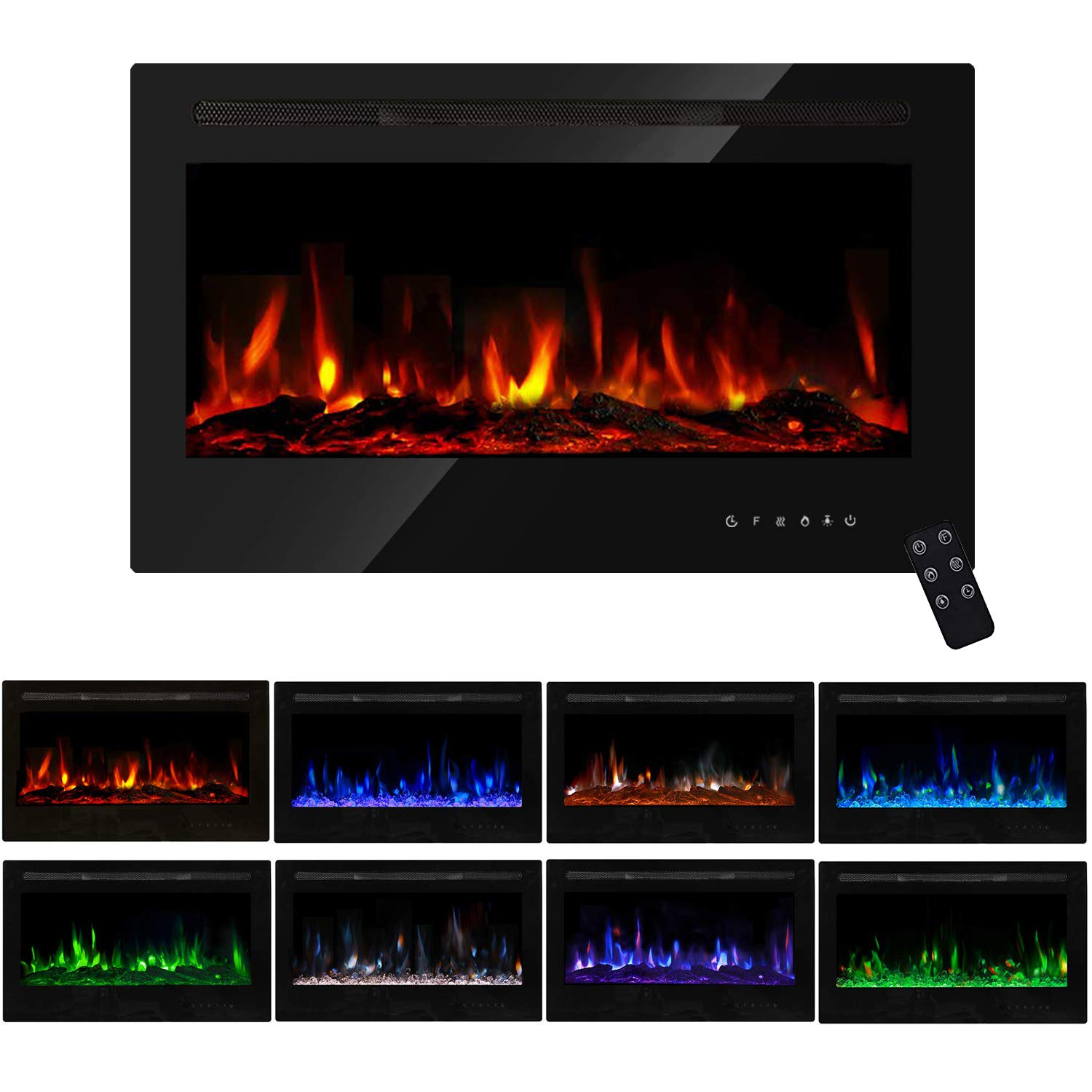 PieDle 36'' Electric Fireplace, in Wall Recessed & Wall Mounted LED Heater, Log Set & Crystal, 5 Flame Settings, Realistic 9 Color Flame, Touch Screen, Remote Control, 750/1500W, Black (36 inch) by PieDle