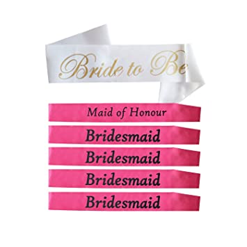 Bridesmaid Sash Set For Bridal Shower Party Bachelorette Kit Bride To Be Wedding