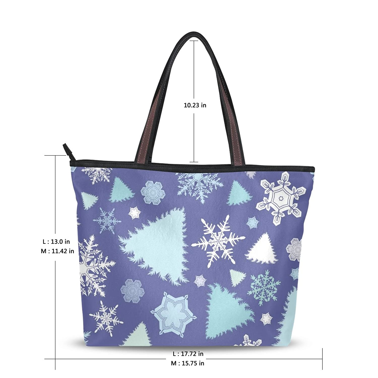 Senya Fashion Women's Handbag Microfiber Large Tote Shoulder Bag, Christmas Snowflake Pattern