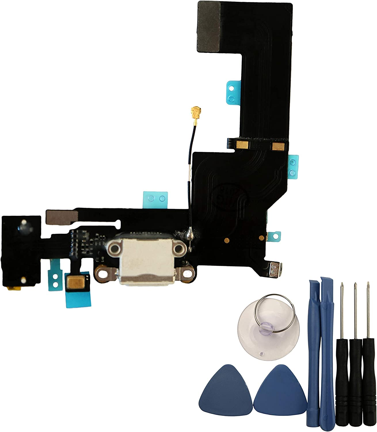COHK USB Charging Port Dock Connector Flex Cable with Headphone Jack and Microphone Replacement for iPhone SE (White)