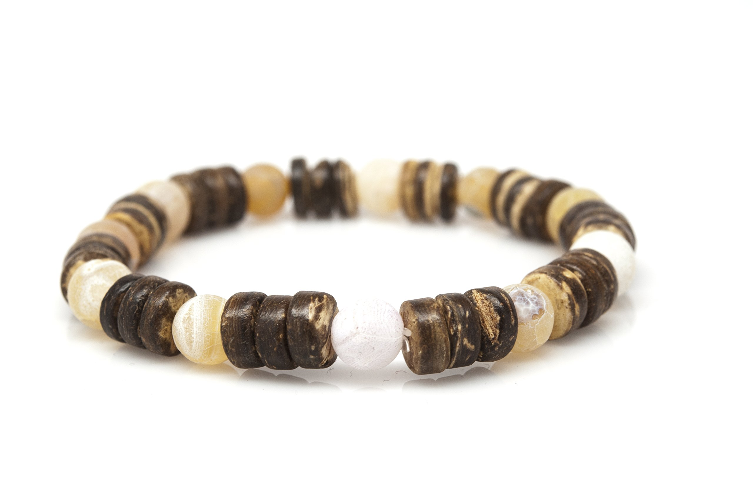 Orti Jewelry Wrist Beads Semiprecious Stone Bracelet - Real Coconut and Agate Gemstones - for Chakra Healing and Balancing, fits Men and Women 7 inch - Adds Boho Charm to Any Outfit, by
