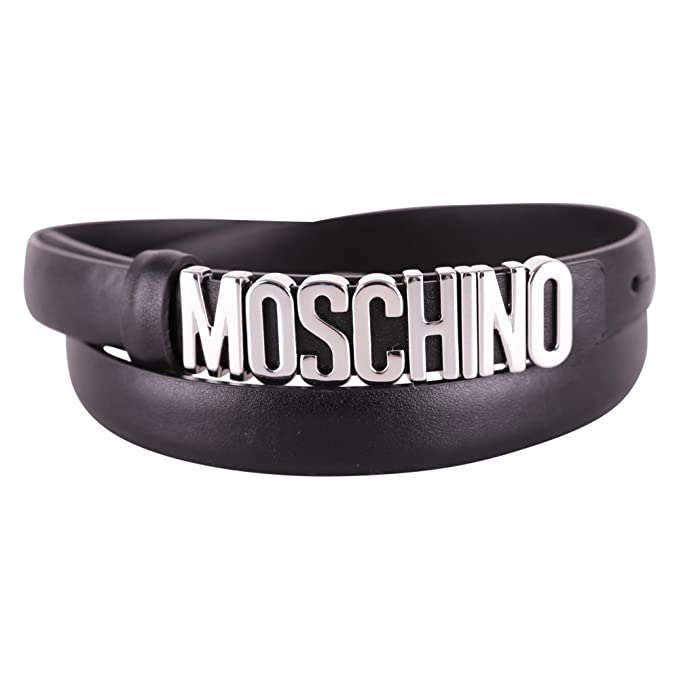 e87a6e38248 Image Unavailable. Image not available for. Colour: Moschino Women's  A800880013555 Black Leather Belt