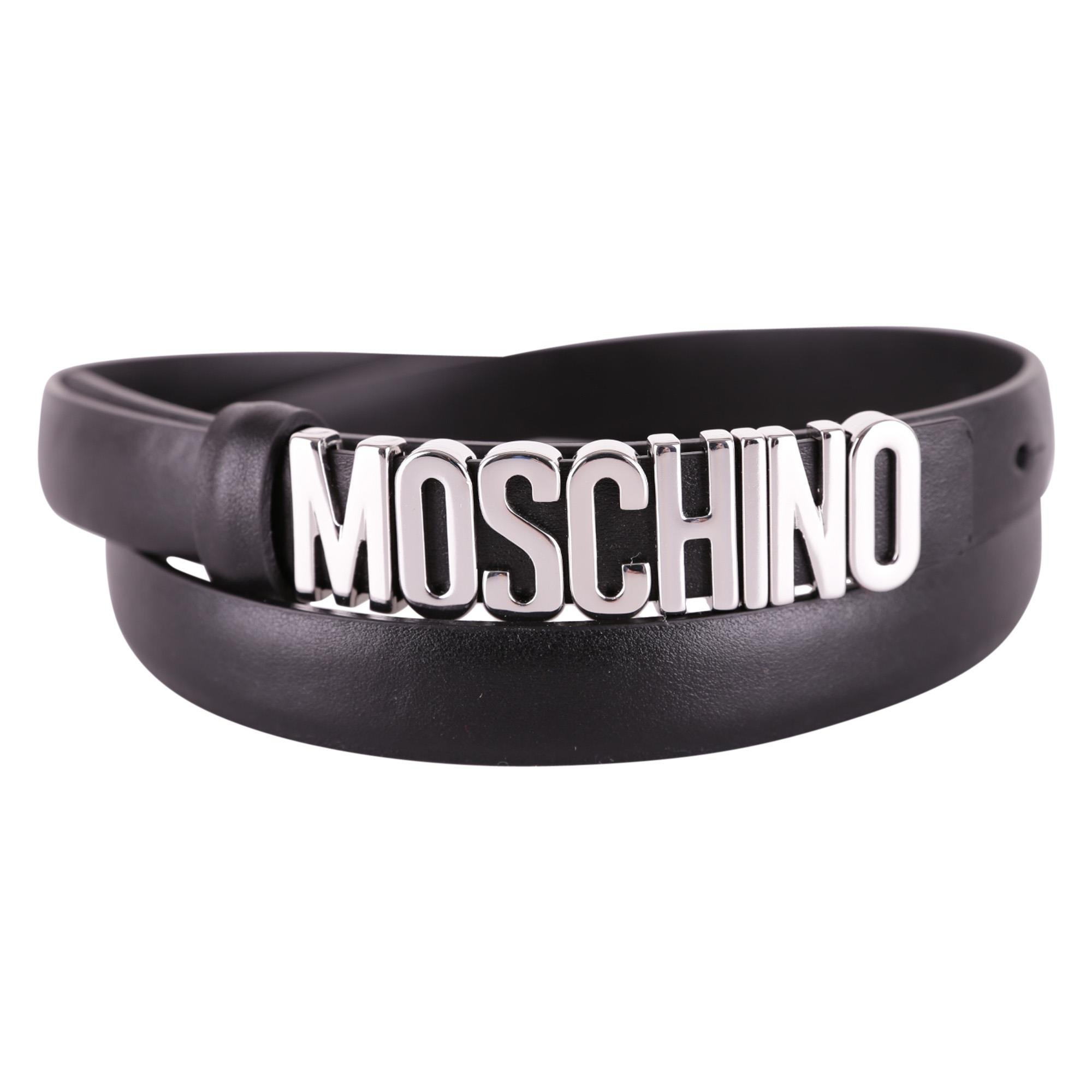 Moschino Women's A800880013555 Black Leather Belt