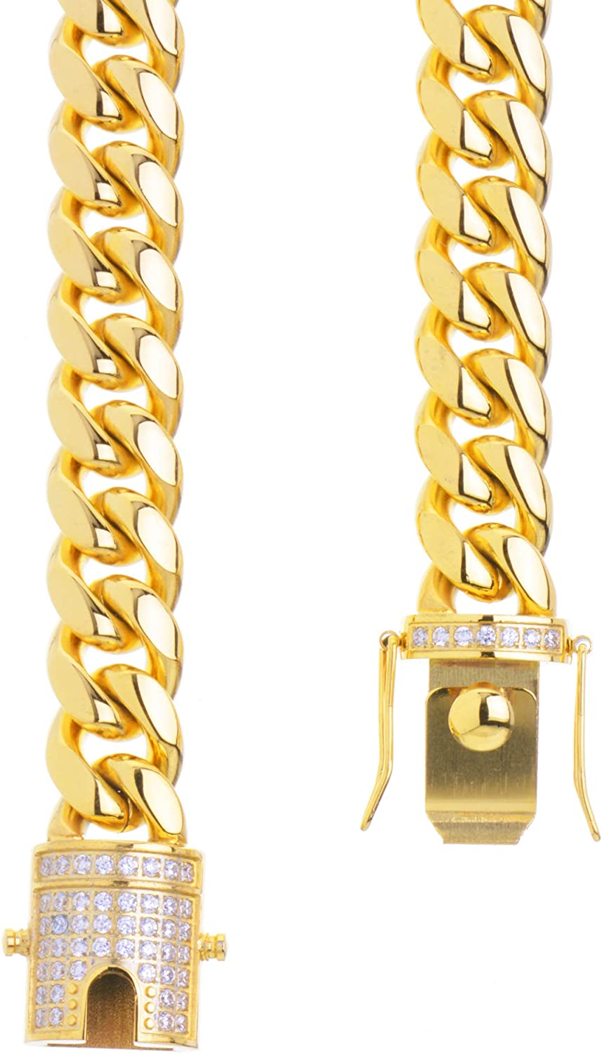metaltree98 Gold Plated Stainless Steel Miami Cuban Link Chain Rapper Hip Hop SSC 121 G 20