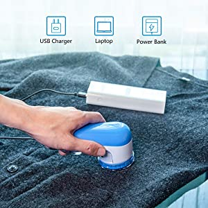 AW Union Fabric Shaver Lint Remover, Electric USB Powered Corded Sweater Shaver, Efficiently Remove Lint Pill and Bubble for Fabric, Clothes, Upholstery (1.2m/4ft Wire) (Color: White)