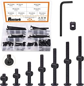 Rustark 84 Pcs M6 x 15mm/ 25mm/35mm/45mm/ 55mm/65mm/ 75mm Black Hex Socket Cap Bolts Barrel Nuts Assortment Kit with One Free Hex Key Baby Bed Crib Screws for Beds Headboards Chairs Furniture