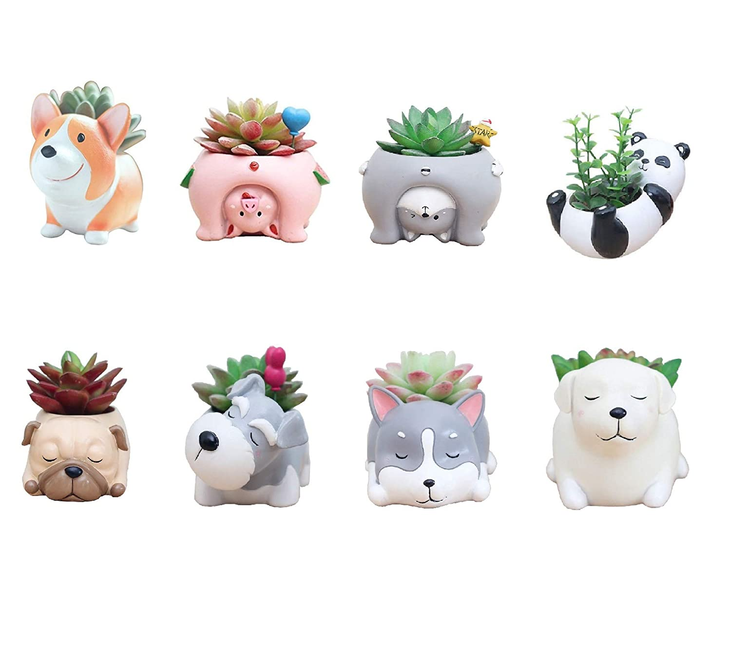 Youfui Animals Succulent Planter Bonsail Holder Cactus Plant Pot Set Home Decoration Vase Flower Pot