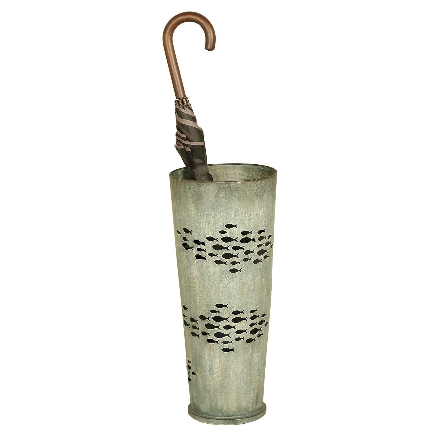 Welcome Home Accents Weathered Blue Metal Umbrella Stand with Cut Out Fish Design