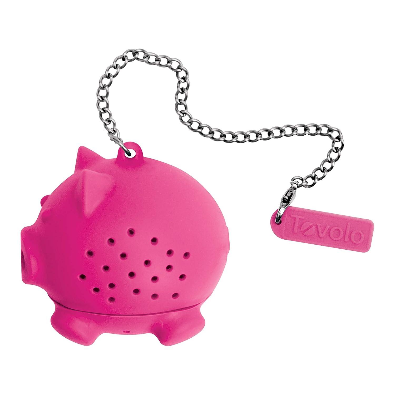 Tovolo Tea Ball Loose Leaf Strainer Cup Mug Infuser, Dishwasher Safe, Pig