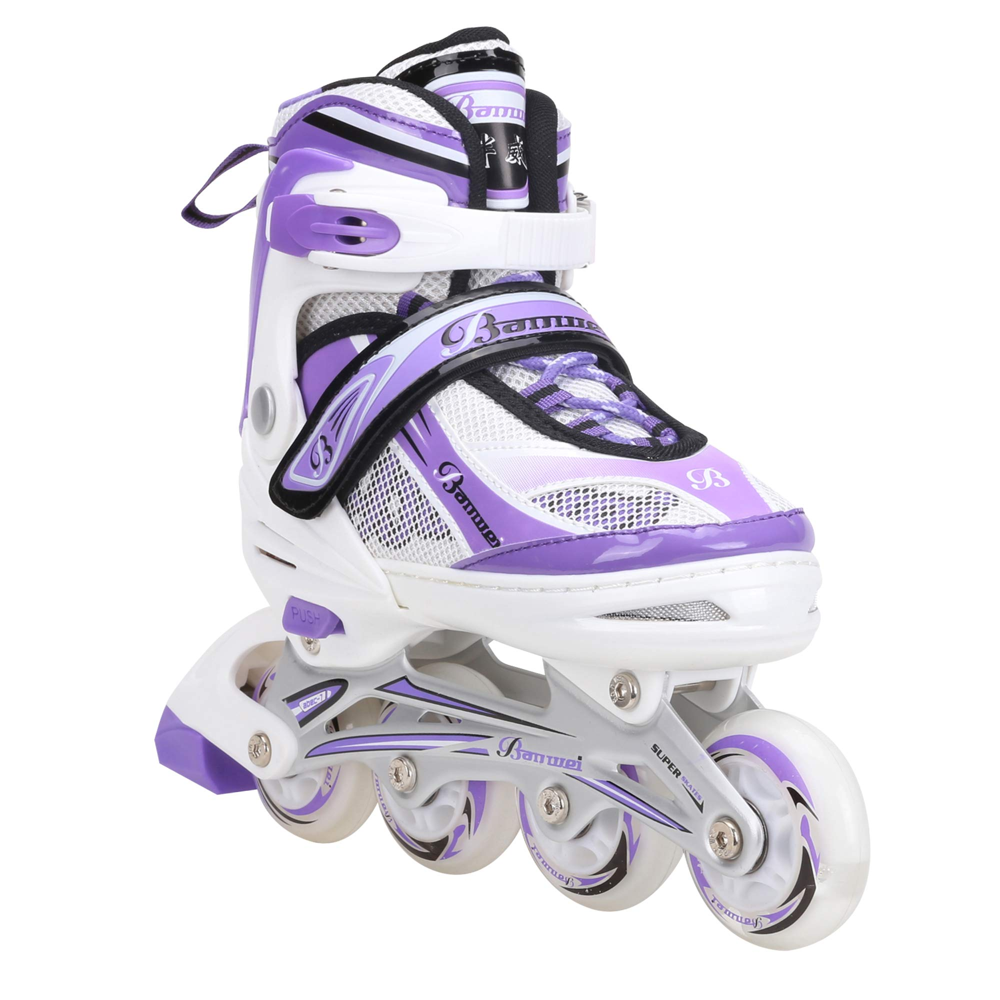 Banwei Adjustable Medium Purple Inline Skates for Girls and Boys Size 13.5J to 6 Illuminating Front Wheel Safe Durable Roller Skates Outdoor Indoor Use