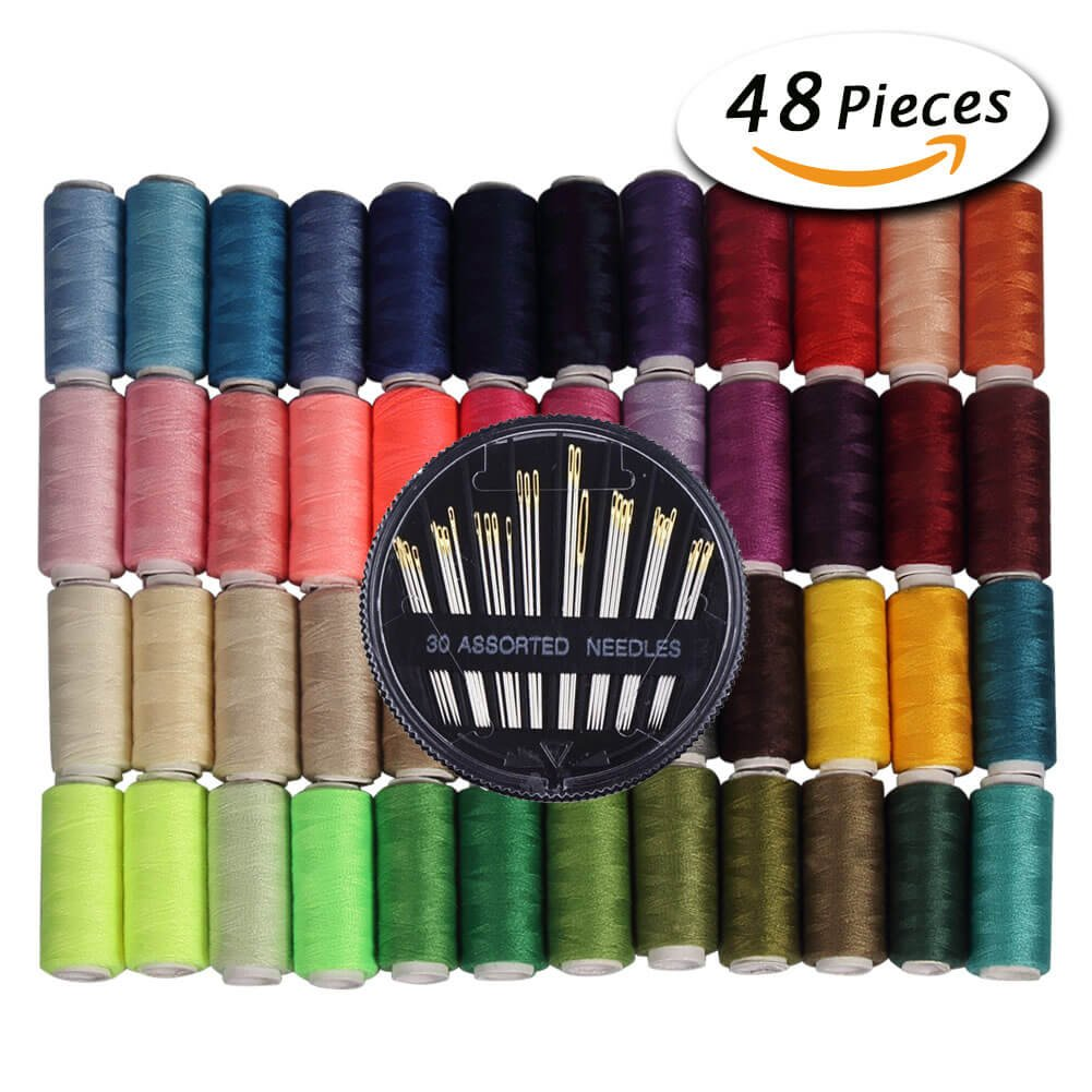 Paxcoo 48 Assorted Color Polyester Sewing Thread spools 200 Yards Each with 30 Assorted Sewing Needles by PAXCOO
