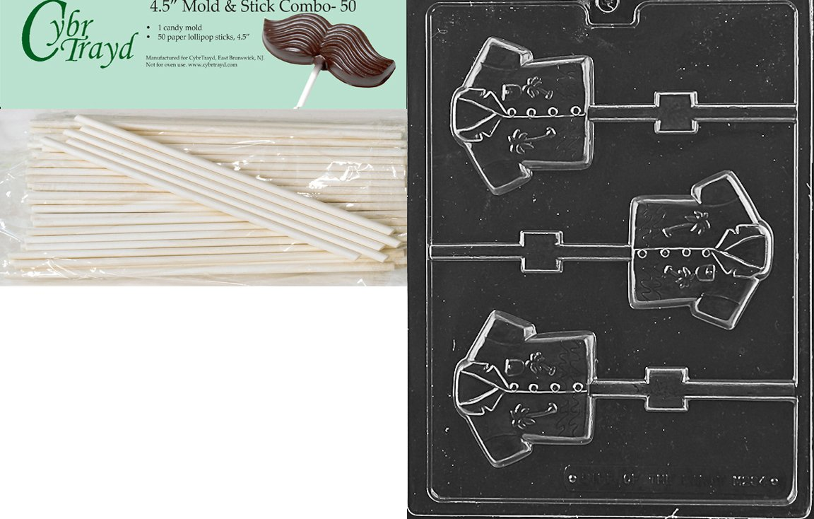 Cybrtrayd 45St50-M234 Hawaii Shirt Lolly Miscellaneous Chocolate Candy Mold with 50-Pack 4.5-Inch Lollipop Sticks