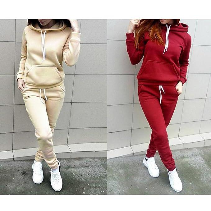 Chandal Conjunto para Mujer Moda Primavera Otoño Casual Conjuntos  Deportivos Manga Larga Camisas Tops + Pantalones b394d3e14dba