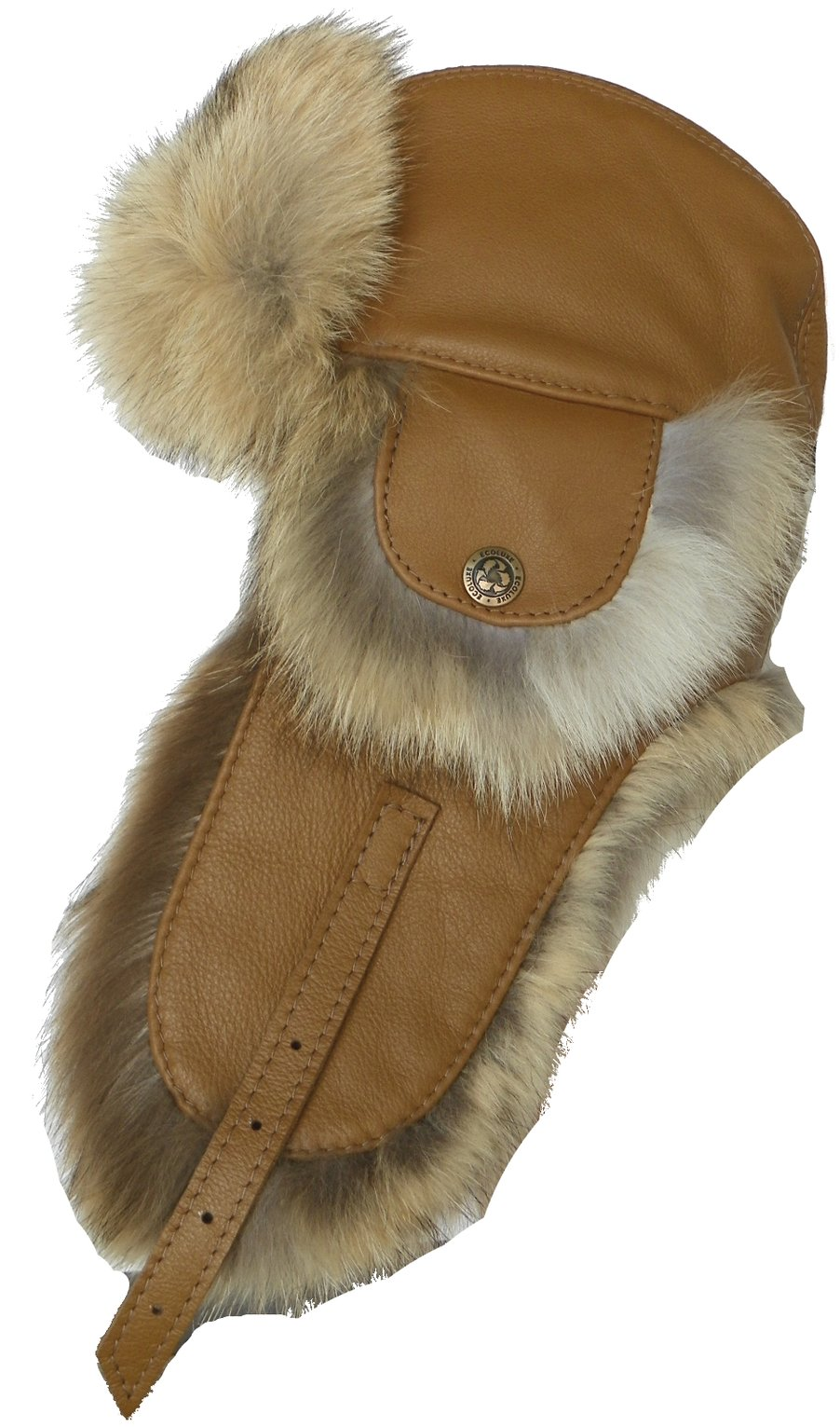 Harricana Recycled Coyote Fur & Leather Trooper Hat Deluxe Aviator (Medium)