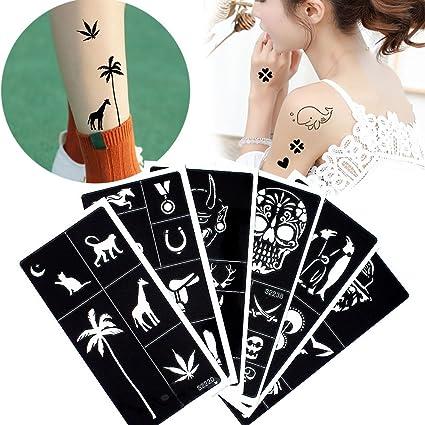6 hojas Henna tatuaje plantilla aerógrafo pintura con purpurina ...