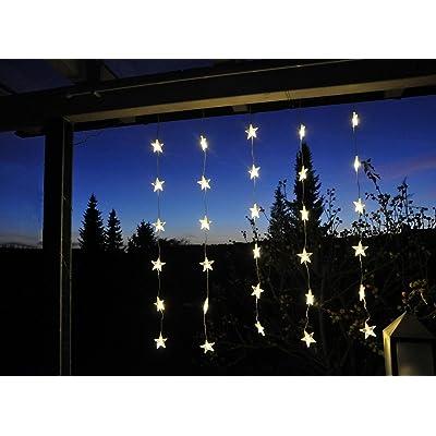 Led Rideaux Avec Etoiles Guirlande Lumineuse Avec 30 Led Lichter