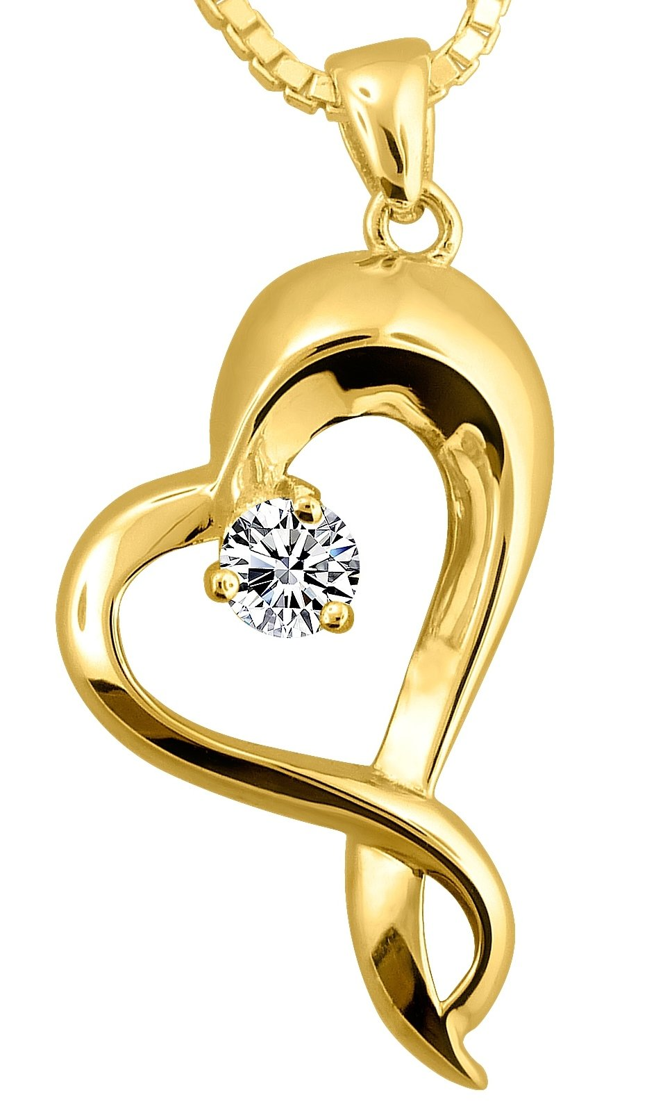 18k Gold Plate on Sterling Silver Embracing Heart Urn Pendant With 18k Gold Plated Chain, 18 Inch