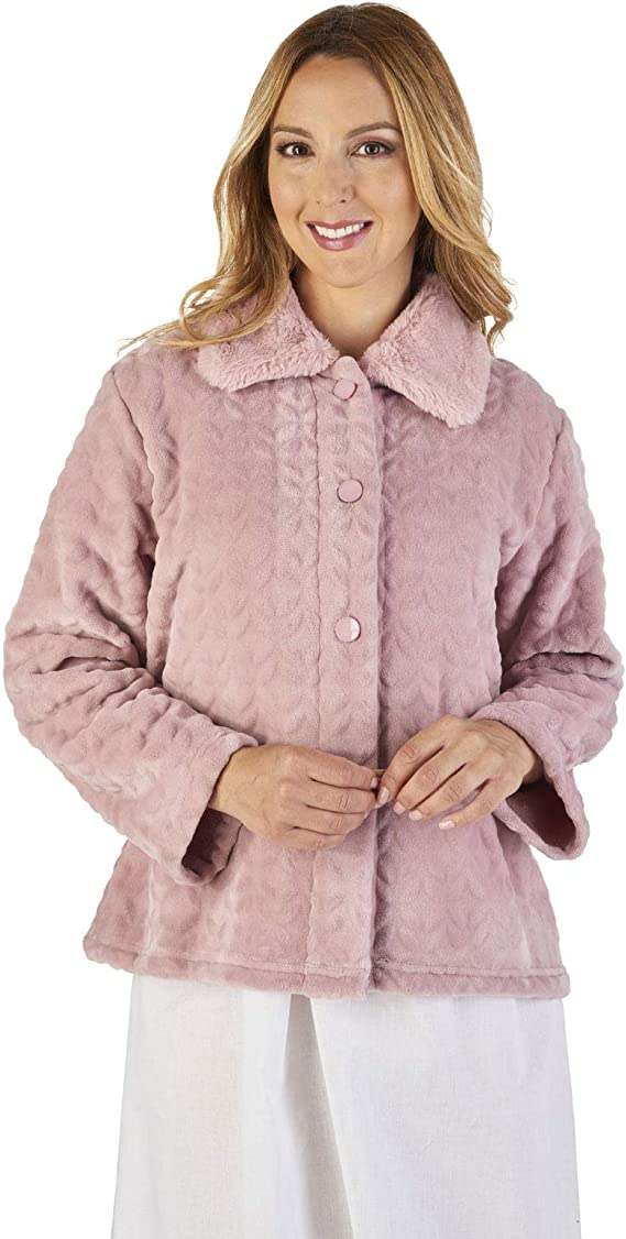 Slenderella BJ2340 Women's Faux Collar Bed Jacket