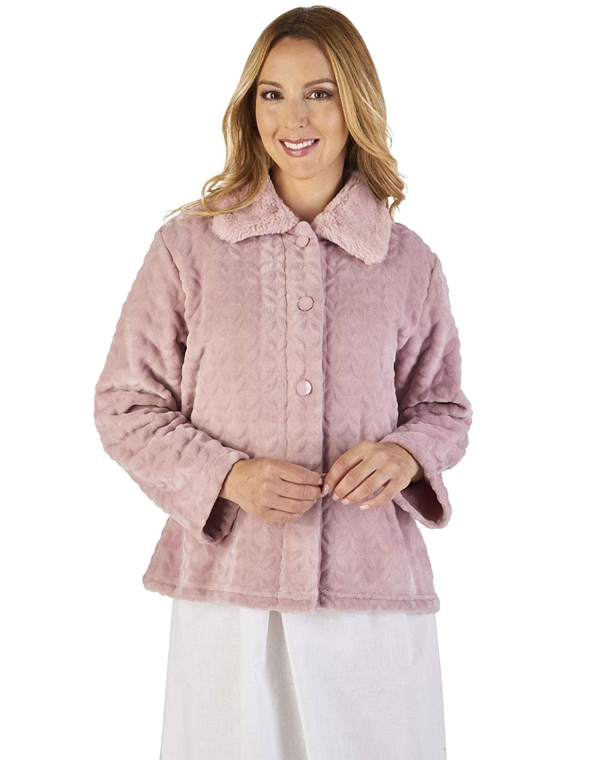 TALLA XX-Large. Slenderella BJ2340 Women's Faux Collar Bed Jacket
