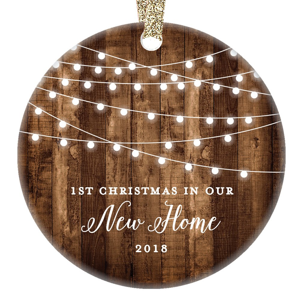Housewarming Gifts 2018, Dated 1st Christmas In Our New House Ornament New Home Rustic Xmas Farmhouse Collectible Homeowner Present Real Estate Agent 3'' Flat Circle Porcelain Gold Ribbon Free Gift Box by Digibuddha