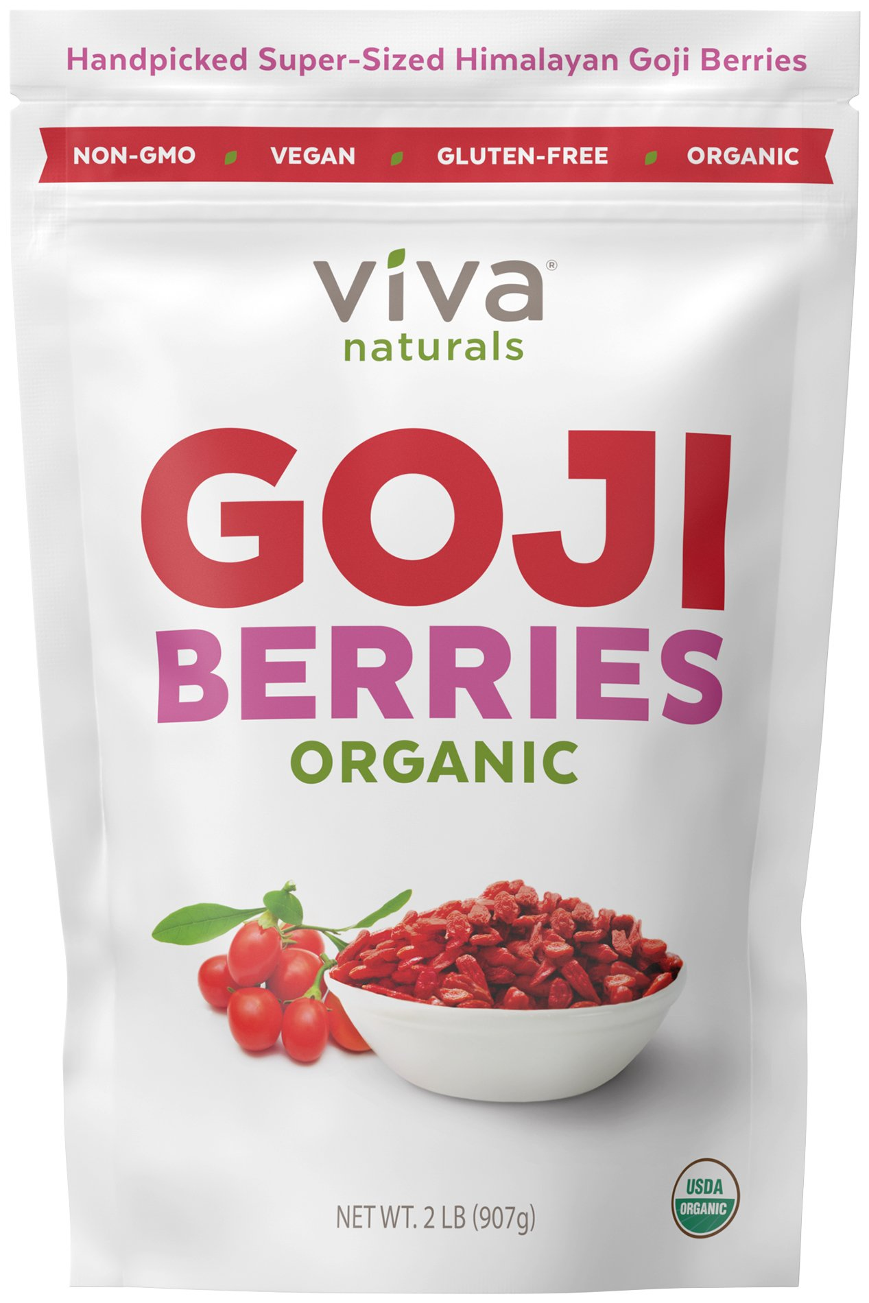 Viva Naturals #1 Premium Himalayan Organic Goji Berries, Noticeably Larger and Juicier, 2lb bag