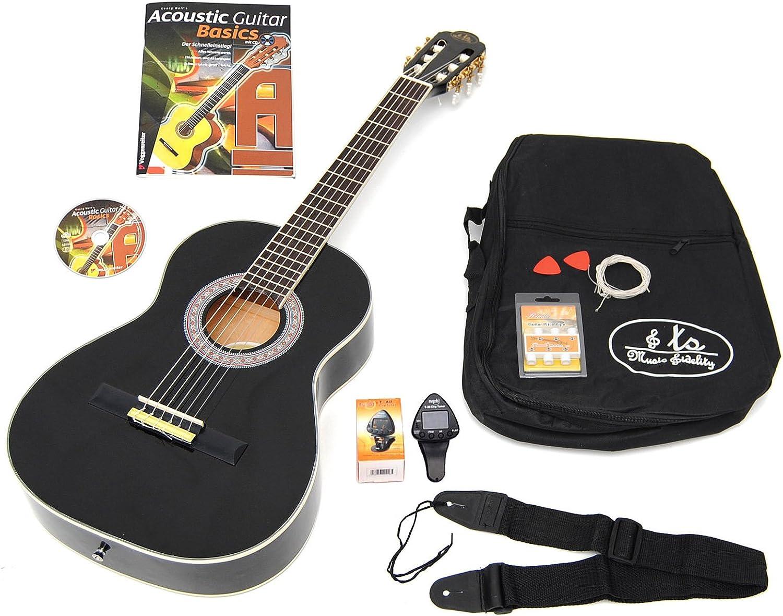 3/4 acústica Guitarra Clásica infantil 9 – 12 años en negro + lcd ...