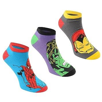 Marvel Comics – Juego de 3 pares de calcetines, Azul y Morado/Gris Character