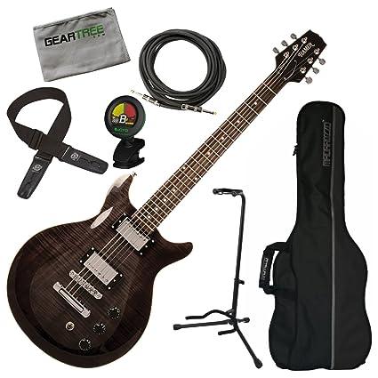 3cb3142dc70 Amazon.com: Hamer SATF-TBK Trans Black Double Cut Electric Guitar w/Gig Bag,  Geartree Cloth: Musical Instruments