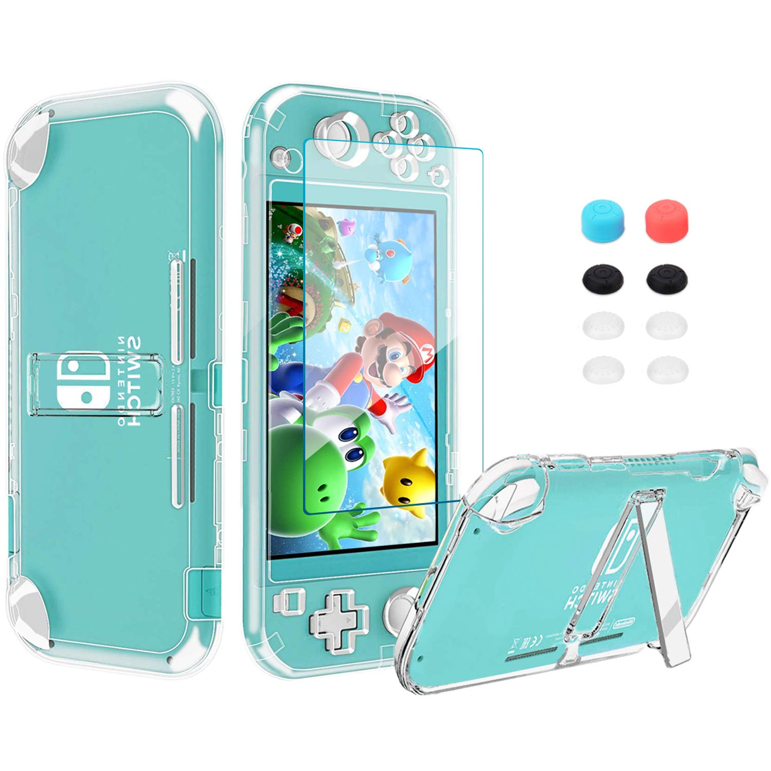Switch Accessories Kit 13in 1 for Nintendo Switch Lite with Hard Cover Case, Screen Protector Tempered Glass, Switch Joystick Caps Cleaning Wipe, Cleaning Cloth