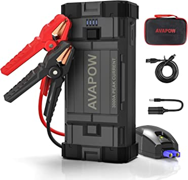 Up to 8L Gas or 6L Diesel Engine Portable Power Pack Car Jump Starter Battery Charger 12V Portable Powerful Starter Auto Battery Booster with Dual USB Ports and LED Light