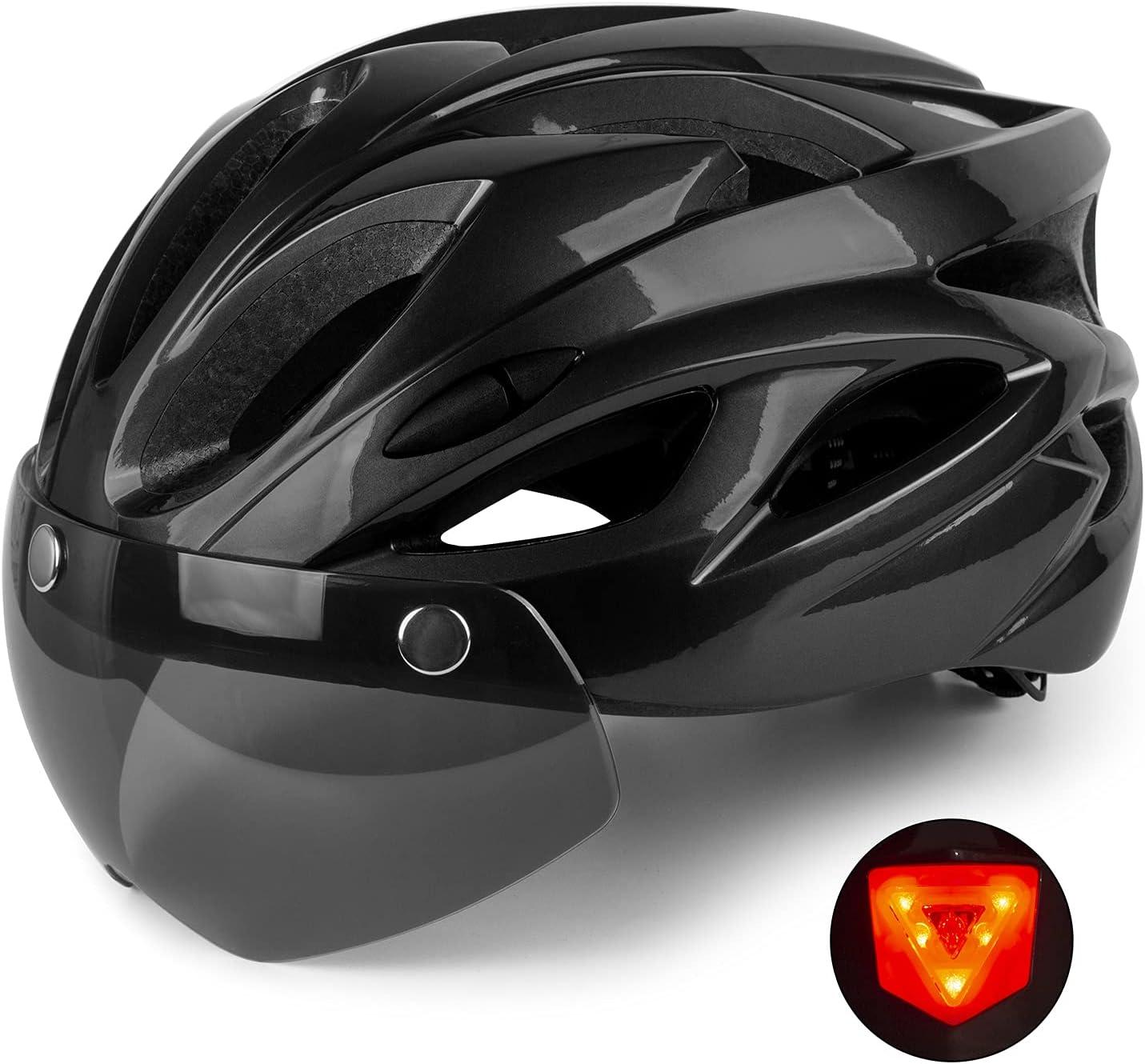 Shinmax Casco Bicicleta con luz, Certificación CE,con Visera Magnética Seguridad Ajustable Desmontable Deporte Gafas de Protección Ligera para Montar Ski & Snowboard Unisex Cascos Bici Adultos 56-