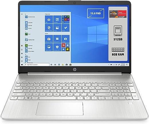 "HP - PC 15s-eq1052nl Notebook, AMD Ryzen 7 4700U, RAM 8 GB, SSD 512 GB, Grafica AMD Radeon, Windows 10 Home 64, Schermo 15.6"" FHD Antiriflesso, Lettore impronte digitali, Webcam,HDMI, USB-C, Argento"