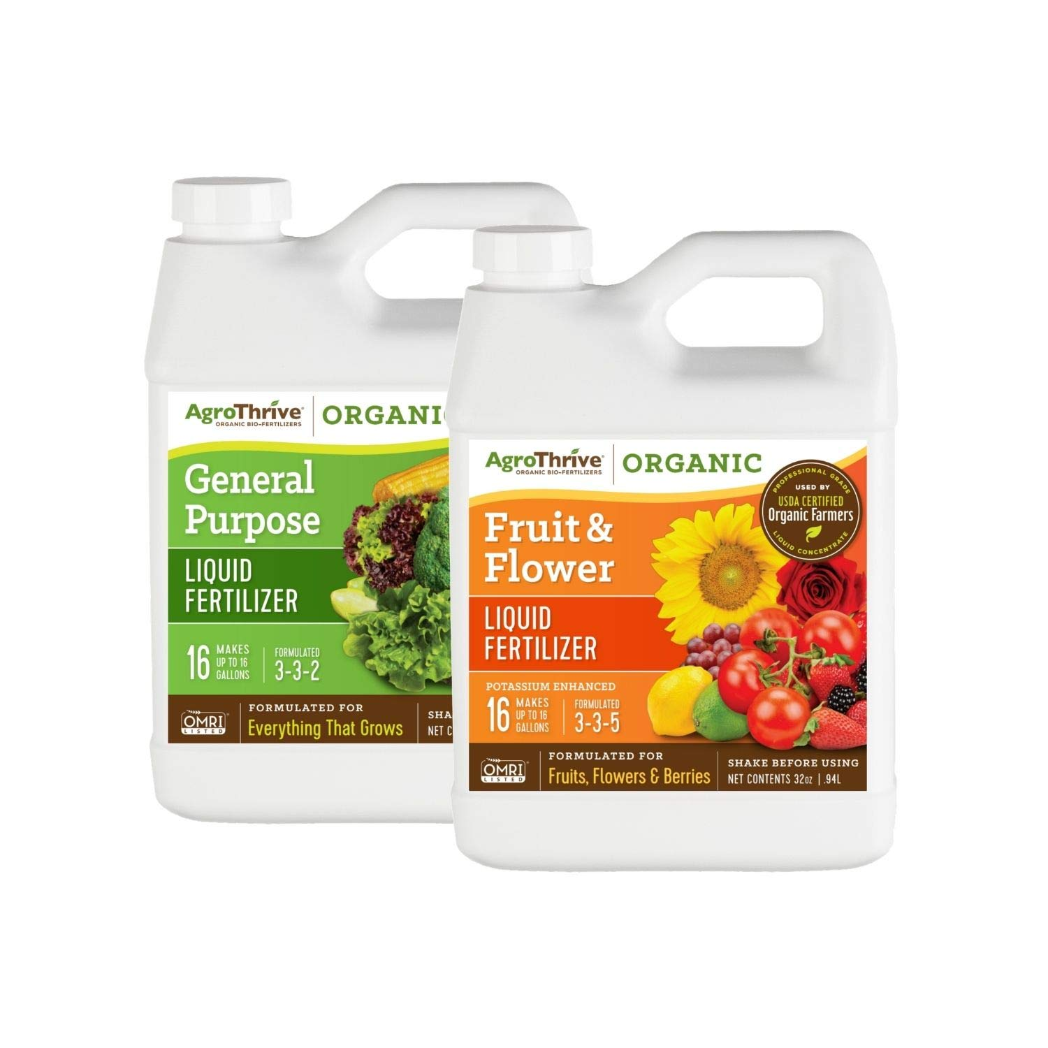 2 in 1 All Purpose AgroThrive Organic Fertilizer Bundle (Pack of 2-32 oz. Bottles) Suitable for Organic Production