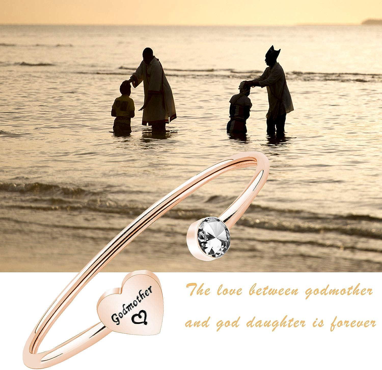 PLITI Godmother Goddaughter Bracelet Baptism Gift Religious Jewelry for Godmother Goddaughter