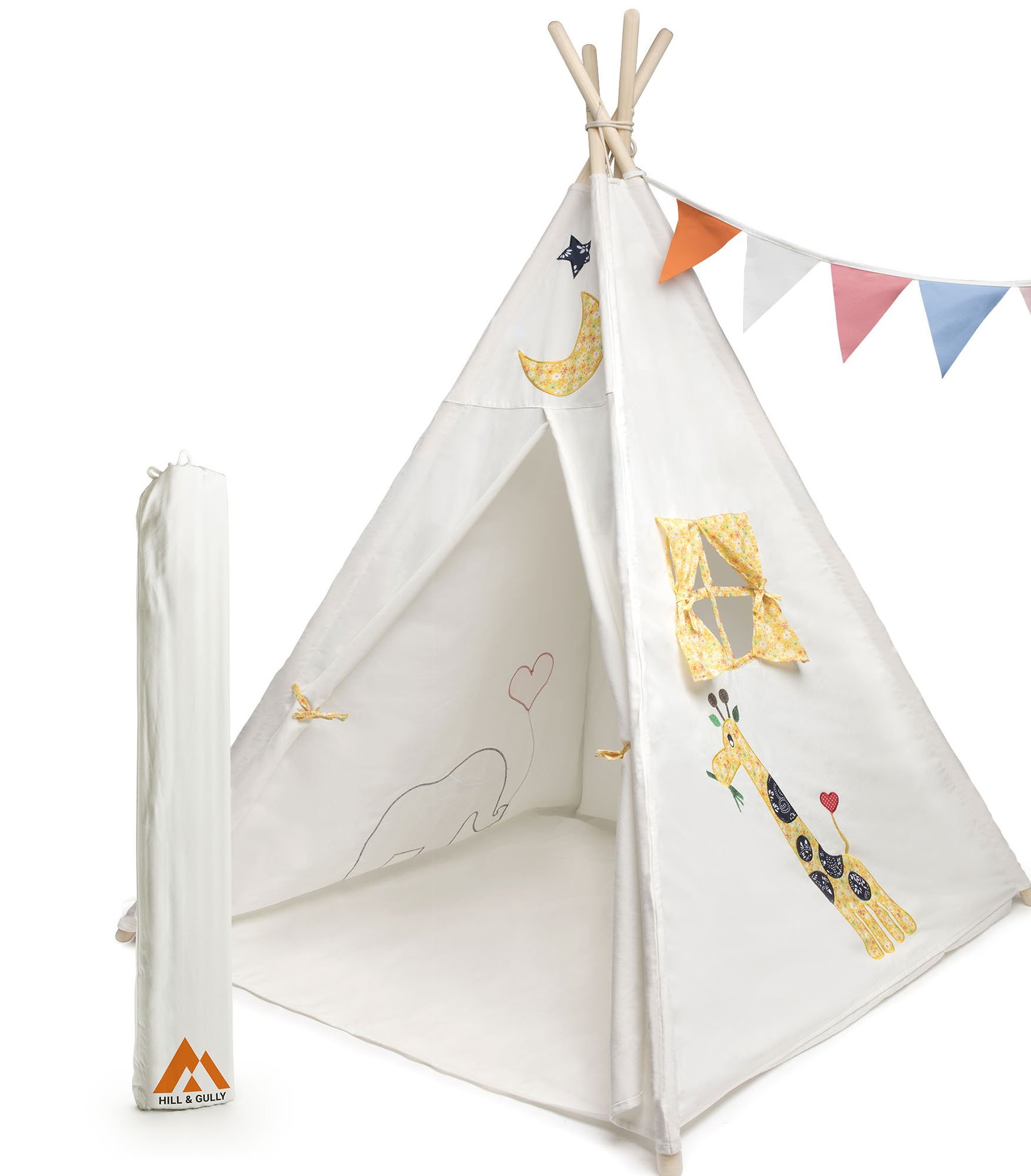 Hill and Gully Teepee Tent for Kids Cotton Canvas with Mat Flags and Carry Case Teepee Tent for Boys, Girls, Baby, Toddler, Children, Kid, Indoor and Outdoor for Camping, Reading, Play and Nursery
